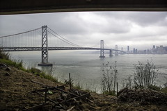 (r@D3k) Tags: ocean sanfrancisco california old city bridge tower cars water fog clouds island oakland bay design earthquake construction cityscape treasure pacific steel country engineering landmark structure transportation freeway area yerbabuena connection