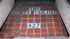 The Model Tailors at 427 S Rampart (dharder9475) Tags: tile entrance dirty numbers 427 lookingdown address 2015 privpublic