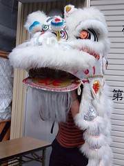 #7235 tourist posing with costume (Nemo's great uncle) Tags: people chinatown yokohama  liondance    nakaku  yamashitach kanagawaprefecture   yamashitamachi