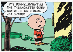 It gets real hot (Tom Simpson) Tags: house weather illustration comics outdoors peanuts hose 1950s charliebrown charlesschulz temperature thermometer 1952 charlesmschulz