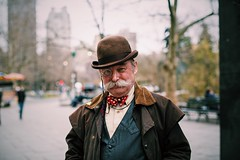Portraiture of an interesting man. (JayMischief) Tags: camera new york old city nyc school portrait people horse men vintage person photography 50mm mark manhattan iii oldschool midtown 5d 12 f12 byc 12l f12l f1l