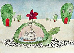THE TURTLE WANDERS THROUGH THE DESERT WHILE THE SEA ROCKS AROUND INSIDE HIM (Fauna Finds Flora) Tags: sea cactus house plant flower art animal illustration cacti painting succulent flora rocks ship desert tea turtle drawing reptile room explore planthouse whimsical cactushouse