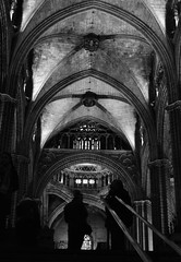 2016-031. (negligible) Tags: barcelona roof shadow people blackandwhite silhouette stone architecture stairs arch cathedral bannister