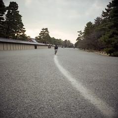 Cyclist on the Path. (Mel Enc) Tags: travel 120 6x6 mamiya tlr japan analog mediumformat kyoto cyclist 120film fujifilm biker filmcamera twinlensreflex gosho fujicolor kyotoimperialpalace colornegative mamiyasekor 80mmf28 c330f pro160ns