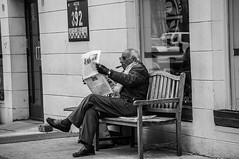 A Classic Day (Neta Bartal) Tags: new york city bw usa male classic monochrome bench newspaper relaxing sunny cigar moma chillin gentleman nikond5000 netabartal