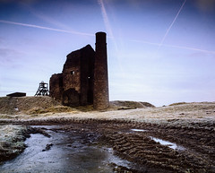 Magpie Mine at dawn (Piers Jacobs) Tags: old building abandoned film wow mediumformat ruins industrial derbyshire
