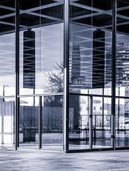 Blue Corner (Silke Klimesch) Tags: blue berlin monochrome lines modern reflections olympus architcture architektur miesvanderrohe monochrom blau spiegelung ecke 45mm omd kulturforum neuenationalgalerie linien em5 newnationalgallery silverefexpro mzuiko nikcollection
