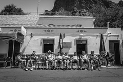 Bikers on the road (zorwick) Tags: road travel blackandwhite bw sun building monochrome bicycle sport grancanaria island spain sitting cyclist outdoor hike resting bikers twowheeler