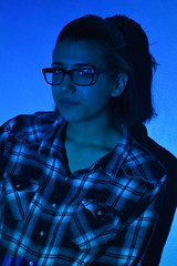 blue tones (laurenashphotos) Tags: blue cute art girl glasses cool model projector artsy aesthetic bluetones cooltones tumblr projectorphotography