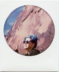 Cliffside (T-Terror) Tags: arizona color girl rock polaroid sx70 lisa roadtrip instant day5 bluehair polaroidsx70 sedonaaz polaroidweek roundframe polaroidsx70alpha1 roidweek impossibleproject roidweek2016