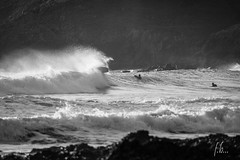 bodybord attack! (Fab2brest) Tags: ocean sea blackandwhite waves surfing watersports seaspray finistre surfspot plageduminou