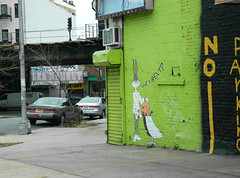 Who's Next (paulsvs1) Tags: street nyc newyorkcity urban streetart green art wall brooklyn graffiti mural colorful cartoon barbershop shave elevatedtrain elmerfudd bedstuy bugsbunny whosnext bedfordstuyvesant