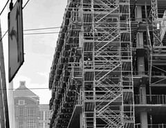 Under Construction (sea turtle) Tags: seattle city urban blackandwhite bw building texture lines blackwhite construction downtown scaffolding angles scaffold underconstruction zigzag
