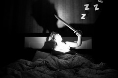 Zzz (EnKajsa) Tags: light portrait woman white selfportrait black girl fairytale photoshop manipulated dark book bed time sleep edited photoshopped dream story sleepy fairy sword flashlight bedtime crown saga eriksson tale zzz edit kajsa manipulate bokstaver fotosondag fotokajsa enkajsa fs160417