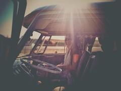 Ain't got far to go (CY2010) Tags: light sun sunlight classic girl beautiful vw volkswagen grain roadtrip retro adventure journey flare passenger camper kombi bulli splitscreen splitty cy2010