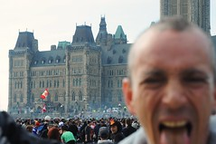 Evolution 420 at 4:20 (beyondhue) Tags: people canada guy haze weed flag smoke hill crowd lawn parliament canadian 420 pot marijuana celebrate 2014 photobomb beyondhue