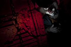 Creepy Clown (J F Bear) Tags: red grid clown flash creepy horror rogue speedlite jfbear