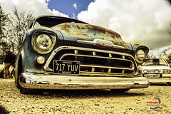 chevy truck 2 (Fonzi Photography) Tags: old uk blue school arizona usa truck vintage cool rust paint northwest unique low retro chevy american patina yank wigan airbags