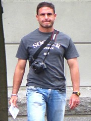 Sun. May 1st (ManontheStreet2day) Tags: camera male guy tshirt crotch jeans bluejeans stud