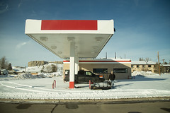 No Gas (Jodie Dobson) Tags: blue winter red usa snow america canon colorado suburban roadtrip denver gas gasstation americana redwhiteblue 6d idahosprings roadtriptodenver canon6d