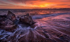 Sunset over La Collette power station (Tim_Horsfall) Tags: uk sunset sea seaweed beach st canon landscape eos is seaside amazing sand rocks colours tide shore jersey usm clements 6d f4l ef1635mm