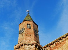 Fortrose Cathedral Spire, Fortrose, Black Isle, December 2015 (allanmaciver) Tags: blue red sky black brick clock weather architecture scotland warm december style historic spire catherdral vane isle cockerel fortrose allanmaciver