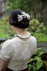 snowflake model. girl wearing kanzashi. (Bright Wish Kanzashi) Tags: snowflake flower art hair asian japanese pin handmade style ornament fabric ornate fiber technique tsumami kanzashi