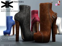 Pantera :: Ankle Boots :: 10 Colors ({kokoia}) Tags: woman high shoes mesh boots sl heel booties tmp pantera maitreya slink secondlfie kokoia themeshproject