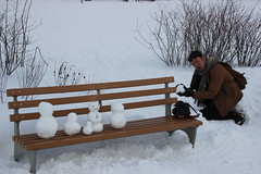IMG_2079 (ianmac47) Tags: park camera brooklyn bench snowman photographer snowmen blizzard greenpoint transmitterpark blizzard2016