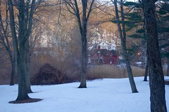 Red House (Anne Marie Clarke) Tags: trees houses winter red snow newyork longisland redhouse roslyn oldroslyn
