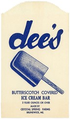 Dee's Butterscotch Covered Ice Cream Bar (Alan Mays) Tags: ephemera bags wrappers icecreamwrappers icecreambags advertising advertisements ads paper printed dees butterscotchcovered butterscotch icecreambars icecream bars sticks food crystalspringfarms illustrations blue brunswick me maine antique old vintage typefaces type typography fonts