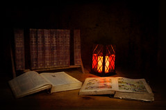 Children's Tomes (Johnny_7) Tags: stilllife book candle books lantern encyclopedia tome