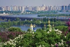 Landscape from Kiev's hills (kud4ipad) Tags: sky flower building tree river landscape spring blossom foliage monastery kiev 2012 dnieper vladimirkud