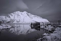 Winter, reflection, land & sea (catohansen) Tags: winter sea snow seascape reflection ferry landscape pier seaside lofoten seaview austvgy gimsy
