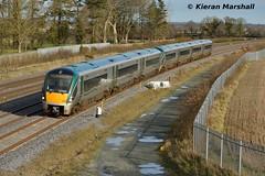 22055+22042 pass Stacumny Bridge, 15/2/16 (hurricanemk1c) Tags: irish train rail railway trains railways irishrail rok rotem countykildare 2016 icr iarnród 22000 22055 éireann iarnródéireann 3pce dublintocork stacummybridge 1325heustongalway