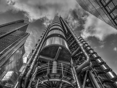 The Lloyds Building (Wizard CG) Tags: world street city blackandwhite building glass monochrome thames architecture digital skyscraper ed four office industrial district steel ngc olympus tourist structure architectural business architect micro area financial insurance lloyds offices attraction ondon banking 43 thirds leadenhall trekker m43 bowellism mzuiko epl7