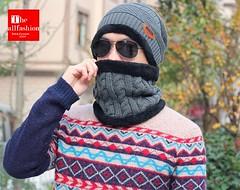 HW-0012 – หมวกผู้ชายไหมพรมใส่ปิดหูพร้อมผ้าพันคอบุขนแกะด้านในใช้เป็นผ้าปิดจมูกกันหนาวติดลบได้