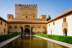 Alhambra palace (Tiigra) Tags: travel plant reflection tower castle pool museum architecture garden andaluca spain palace granada column es 2015 arka