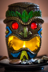(076/366) Glowing Tiki (CarusoPhoto) Tags: macro canon project john is photo day candle bokeh head mark ii 5d glowing 365 usm caruso tiki 366 f28l ef100mm flameless canon5dmarkii carusophoto ef100mmf28lmacroisusm