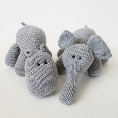 Hippo and Elephant (Knitting patterns by Amanda Berry) Tags: amanda elephant animal animals toy toys grey zoo berry knitting pattern handmade patterns crafts knit fluff safari jungle download hippo elephants knits knitted crafting hippos fuzz knitters ravelry