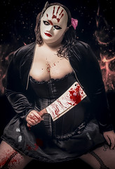 Hell hath no fury like a women scorned (P.Holmes) Tags: pink red portrait black digital canon blood bbw 85mm horror corset villain