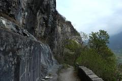 chapelle du Scex (bulbocode909) Tags: suisse vert arbres printemps brume rochers valais stmaurice chapelleduscex