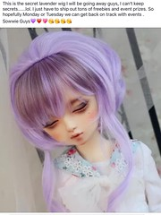 I will be giving away this new wig via Facebook this week join in if your interested in wining this beautiful lavender wig (Amethyst Violet) Tags: new beautiful this lavender away via your will giving wig join be if week wining interested facebook i wig