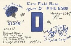 HR #79: Blue Carnation & Blue D at Corn Field Base - Weaterhford, Texas (73sand88s by Cardboard America) Tags: vintage texas vegetable qsl cb playingcard cbradio qslcard