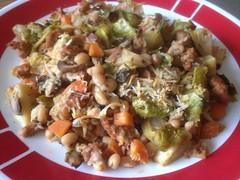 Turkey Sausage Cassoulet (bnichnadowicz) Tags: potatoes carrots brusselssprouts parmesancheese whitebeans frechcusine italiaturkeysausage