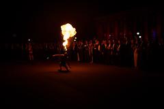 Fire dancers (bradwendes) Tags: night 35mm ball dark fire prime fuji fireworks graduation fujifilm raf highiso cranwell royalairforce x100 x100s