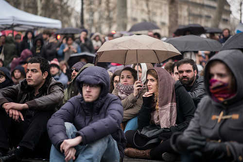 """7ème nuit d'occupation de la Place de la République par le collectif """"Nuit debout"""" – Paris, 6 avril 2016"""