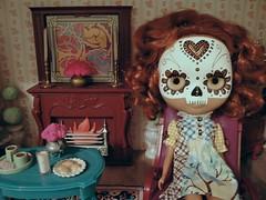 A lazy Sunday on the dolly shelf. (``` November Rain ```) Tags: dayofthedead fireplace livingroom diorama calavera customblythe