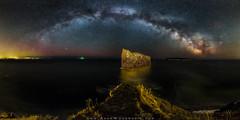 Milky Way Panorama Over Perce Rock (Adam Woodworth) Tags: panorama canada night stars quebec astrophotography lightpollution perce milkyway percerock gaspepeninsula
