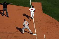 JBJ beats the throw at first (ConfessionalPoet) Tags: baseball redsox safe baltimoreorioles 1b firstbase baserunner jbj firstbaseman chrisdavis jackiebradleyjr openingday2016
